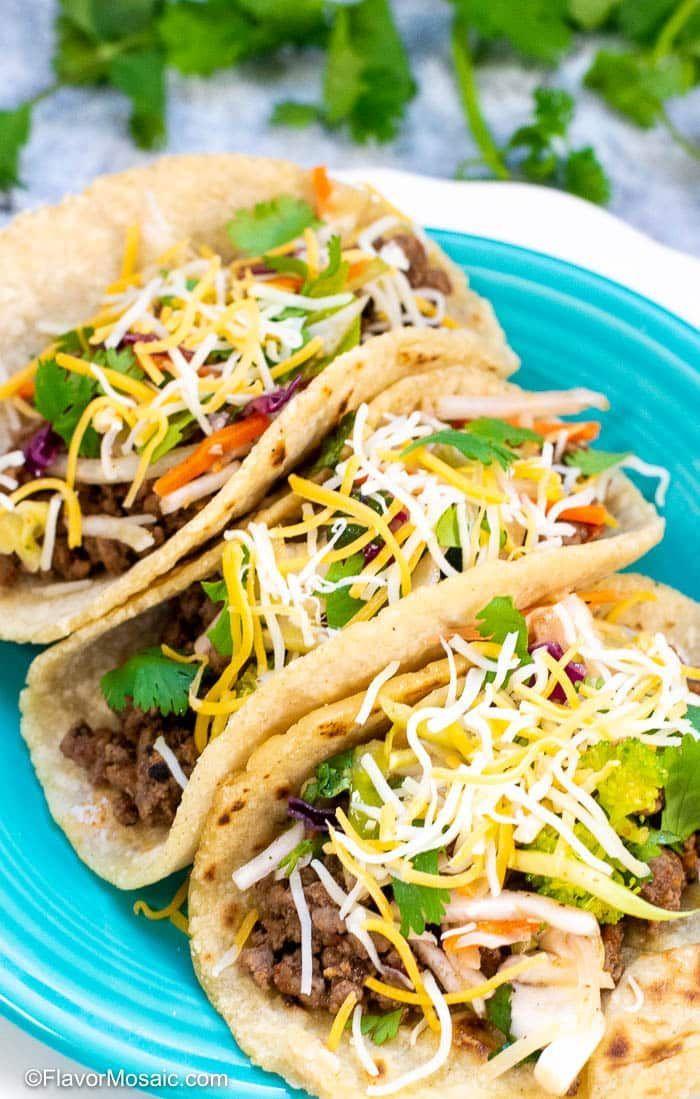Ground Beef Tacos Recipe Flavor Mosaic Groundbeeftacos In 2020 Tacos Beef Beef Tacos Recipes Ground Beef Tacos