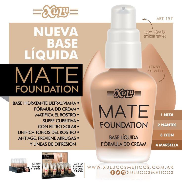 ¡Nueva base líquida Mate Foundation! Ultraliviana, fórmula DD Cream, matifica el rostro y previene arrugas y líneas de expresión.