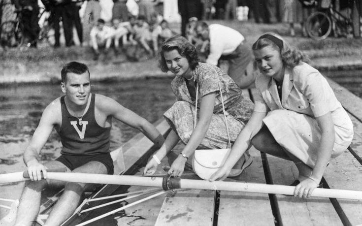 1948: American actress Grace Kelly and her sister Elizabeth wish their brother, Olympic medal-winning rower John B Kelly Jnr, good luck at Henley Royal Regatta, Henley-on-Thames