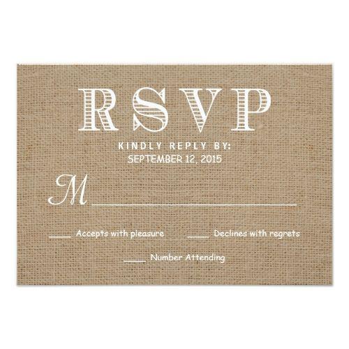 Rustic Wedding Invitations Burlap RSVP Rustic Typography Wedding Reply Card