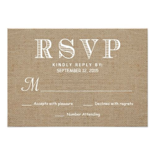 Rustic Wedding Invitations Burlap RSVP Rustic Typography Wedding Reply Card