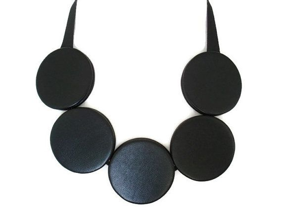 Leather Circle Bib Necklace Black Statement Necklace Large Disc Necklace Leather Jewellery Valentines Gift for Her on Etsy, £78.00