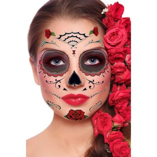 Day of the Dead Temporary Face Tattoos • Halloweentopia