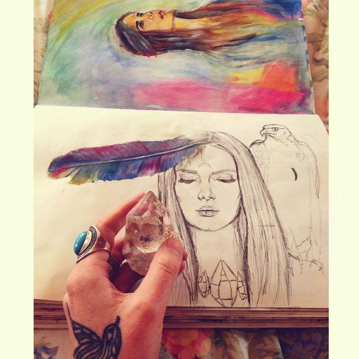 When I don't want to be found. ✌️ #art #artist #love #fashionillustration #graphite #illustration #realism #drawing #sketch #wip #workinprogress #feather #eagle #girl #native #boho #artoftheday #bohemian #indie #herkimerdiamond #crystal #quartz #alluramaison #tattoo #birdtattoo #gypsy #canberra #artistproblems#watercolor #painting