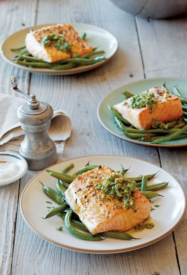 Arctic Char and Green Beans with Arugula-Lemon Pesto | The fish shines when dolloped with arugula-lemon pesto in this easy gluten-free meal.