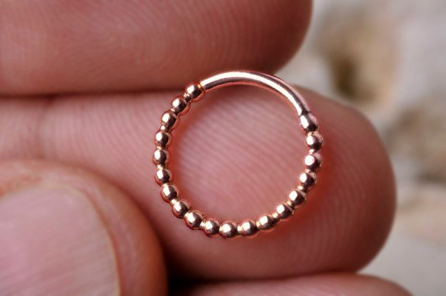 "Septum Ring 14k Solid Rose or Yellow Gold, 1/2"" inner diameter Dotted design. Handcrafted"