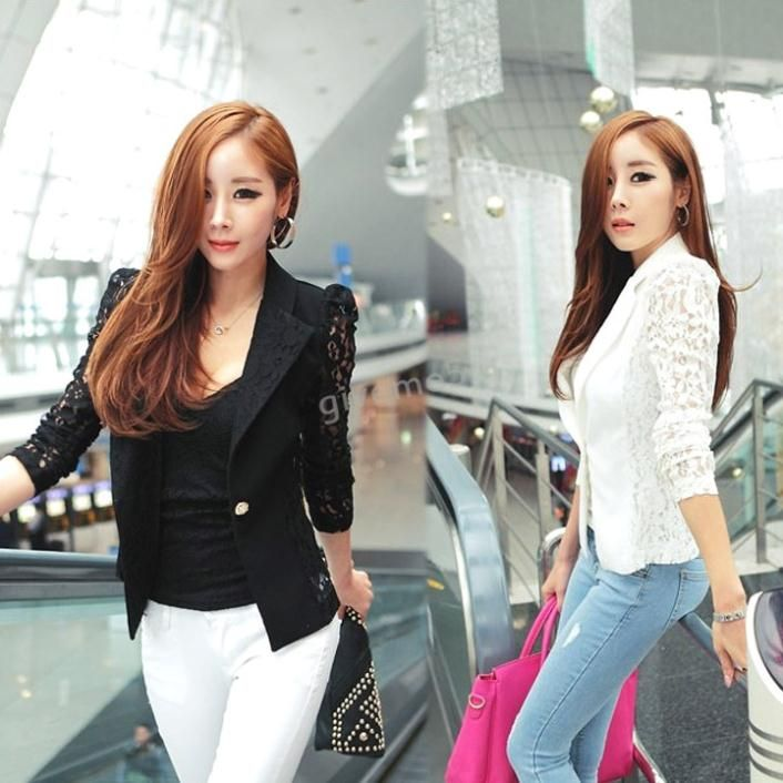 DROPSHIPPING 2014 New Top Coat Sexy Sheer Lace Blazer Lady Suit Outwear Women OL Formal Slim Jacket Black White M L XL 18438 € 5,90