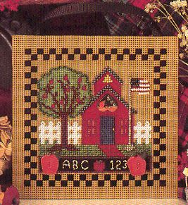 Mill Hill School House - Beaded Cross Stitch Kit. Kit Includes: Beads, ceramic button, perforated paper, floss, needles, chart and instructions. Finished size: