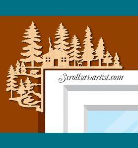 Scroll Saw Patterns :: Miscellaneous :: Decorative corners :: Decorative corner - cabin -