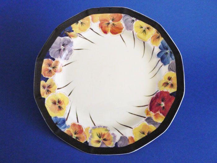 Large Royal Doulton 'Pansies' Art Deco Cake Plate D4049 c1925