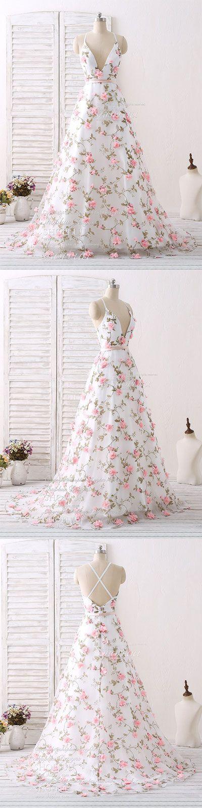 White v neck 3D applique tulle long prom dress white evening dress, white wedding party dress