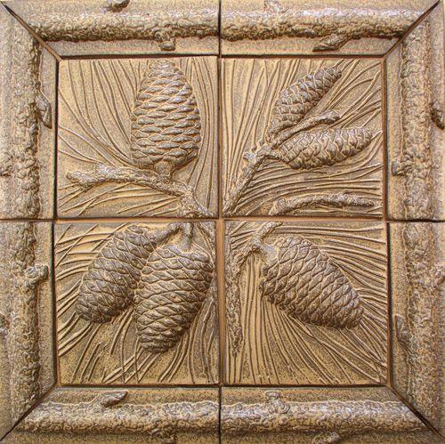 Pinecone tilesCones Tile, Terry Tiles Fireplaces, Tile Murals, Ceramics Tile, Logs Border, Accent Tile, Pinecone Murals, Country Tile, Pinecone Tile