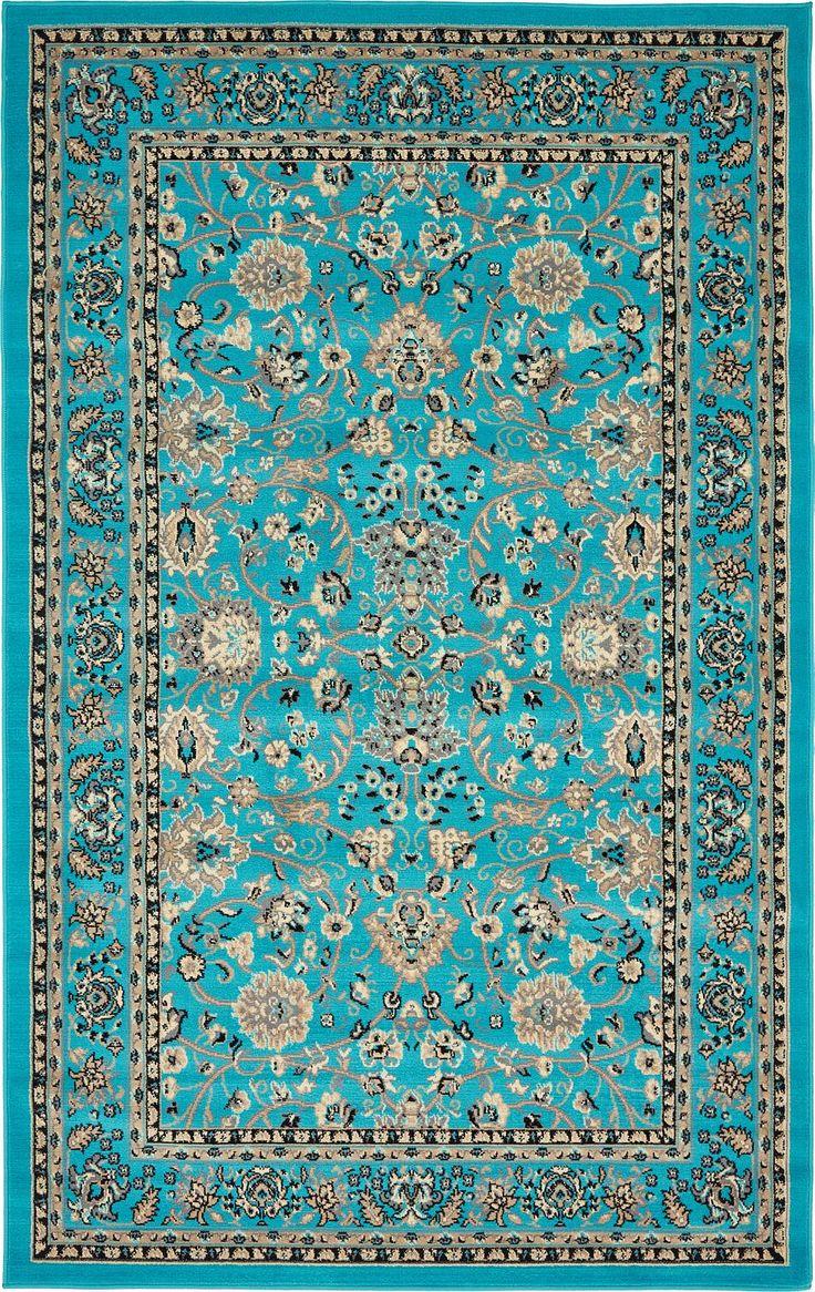 Marvelous Turquoise 5u0027 X 8u0027 Kashan Design Rug | Area Rugs | ESaleRugs