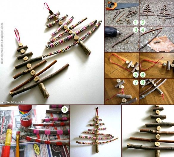 Twiggy Christmas Trees, tutorial - Do it yourself tutorials: 30 creative ideas for Christmas trees, decorations, gifts, postcards and more