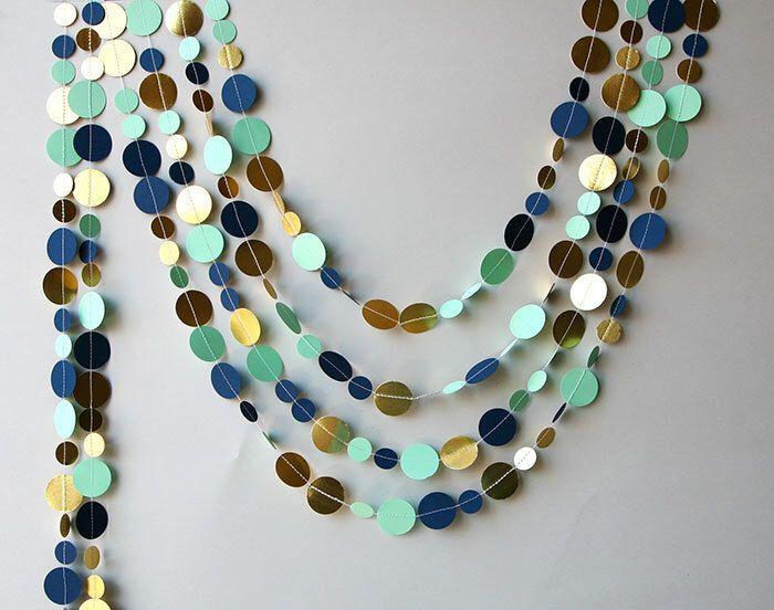 Navy gold garland,Gold mint garland,Navy blue Mint gold wedding decor, Metallic garland, KM-C-0002, Paper garland, Wedding decor by TransparentEsDecor on Etsy https://www.etsy.com/listing/197291051/navy-gold-garlandgold-mint-garlandnavy