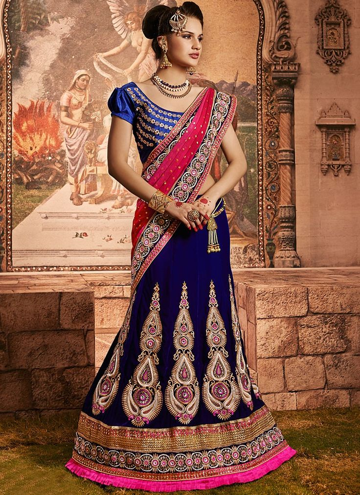 Shop this product from here.. http://www.silkmuseumsurat.in/blue-resham-work-velvet-lehenga-choli?filter_name=4634  Item :#4634  Color : Blue Fabric : Velvet Occasion : Bridal, Party, Reception, Wedding Style : A Line Lehenga Work : Applique, Embroidered, Patch Border, Resham