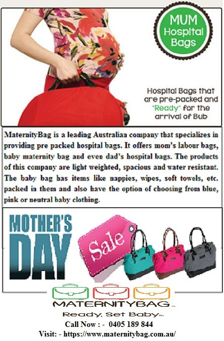 MaternityBag is a leading Australian company that specializes in providing pre packed hospital bags. It offers mom's labour bags, baby maternity bag and even dad's #hospital #bags. The products of this company are light weighted, spacious and water resistant. The baby bag has items like nappies, wipes, soft towels, etc. packed in them and also have the option of choosing from blue, pink or neutral baby clothing.