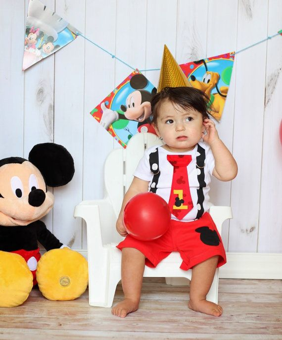 Mickey Mouse Birthday Tie and Suspender Onesie with Shorts for Baby Boy First Birthday Disney Clothing Birthday Party Little Man Tie Outfit on Etsy, $36.00