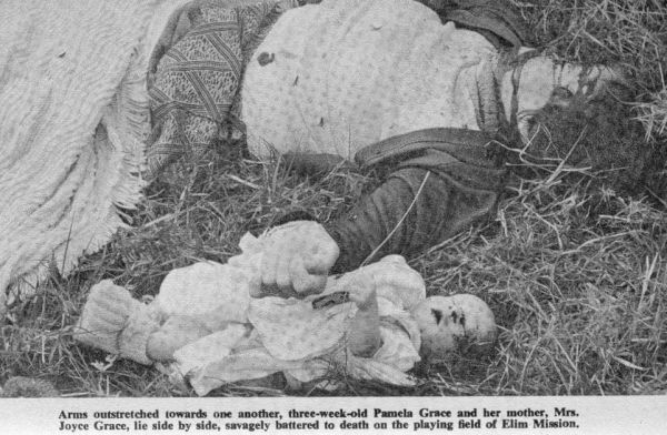 On the night of June 23, 1978, Elim Mission in the Rhodesian Eastern Highlands was subjected to the worst massacre of missionaries yet experienced. Terry Blocksidge reported in the Sunday Mail (Salisbury):  Eight British missionaries and four young children - including a three-week-old baby - were bayoneted to death by terrorists on Rhodesia's Eastern border on Friday night in the worst massacre of whites since the six-year-old war began.