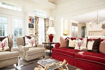 This very pale celery green (more blue or more yellow? ) is great with red sofa.  Post said it is Ben.Moore White Dove.  Greenfield Hill Residence - traditional - family room - new york - Tiffany Eastman Interiors, LLC