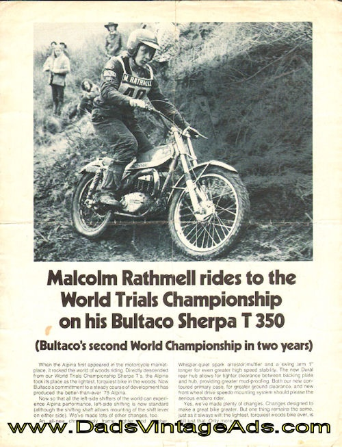 1975 Ad- Malcolm Rathmell rides to the World Trials Championship on his Bultaco Sherpa T-350 $13.99