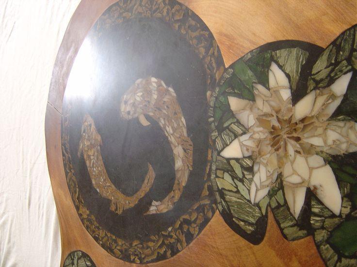 Detail: Title: Swamp Kauri & Carp Materials: Swamp Kauri, chert, petrified wood, jade SOLD New Zealand private residence