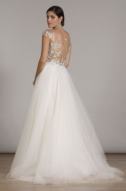 251 best illusion wedding dresses images on pinterest wedding embroidery illusion cap sleeve bodice on illusion tulle ball gown wedding dress liancarlos fall junglespirit Images