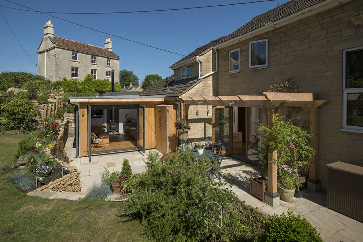 Modern Extension South West, Timber Extension and Loggia Garden Landscaping Patio Bath
