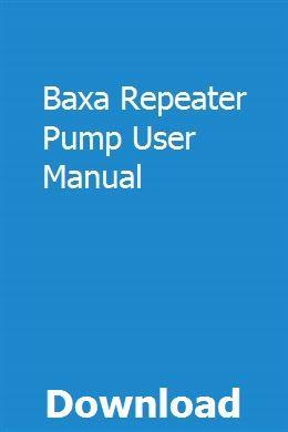 Baxa Repeater Pump Manual Spanish