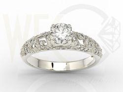 Pierścionek zaręczynowy z białego złota z białym szafirem i diamentami / Enagagement ring made from white gold with a sapphire and diamonds / 2 774 PLN / #ring #gold #sapphire #szafir #bizuteria #jewellery #jewelry #zloto #pierscionek #engagement_ring