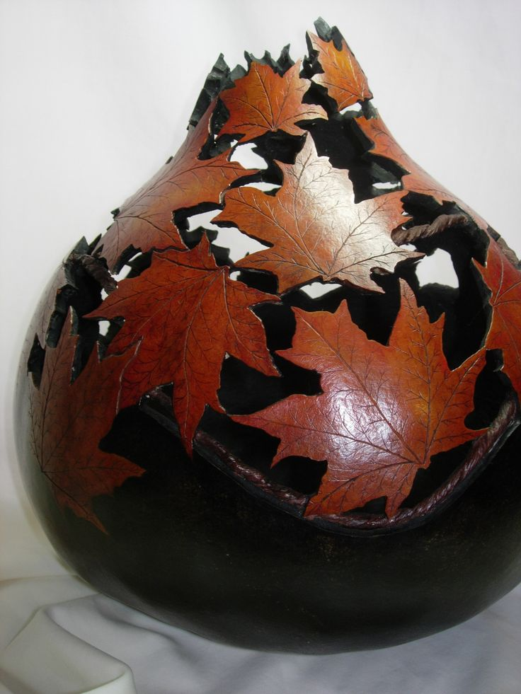 """""""Autumn Leaves"""" Carved Gourd"""