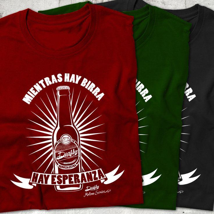 """Camiseta """"BIRRA"""" en negro, verde o vino con estampado en blanco con la frase """"Mientras hay Birra hay Esperanza"""" www.diablocamisetas.com"""