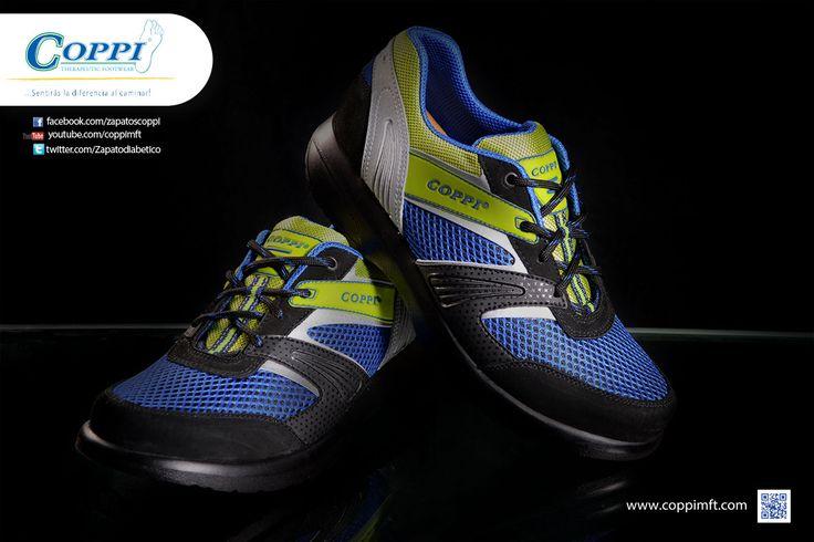 Zapatos para Diabéticos -  Deportivos Doyle Azul x Negro x Verde. Para el cuidado de los pies, diabétes, artritis, reumatismo, artrosis, gota, espolón calcáneo, fascitis plantar y vena varice.