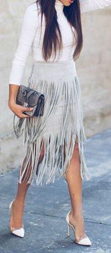 Grey Suede Fringe Skirt - Trendslove