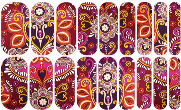 Indian Summer | Jamberry NAS #floral #flower #nailart #easynailart #DIYNailart #nailwraps #Jamberry #nailartstudio #indian