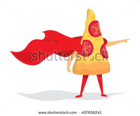 Cartoon illustration of pizza super hero saving the day - stock vector