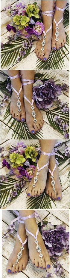 Lavender ribbon wedding barefoot sandals - foot jewelry for your dream beach wedding