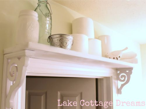 Look (Way) Up- Don't underestimate the power of super high shelf. This stylish number adds a decorative frame to the door, and keeps bathroom bulk out of everyday sight. Small Bathroom Storage Ideas - Bathroom Organizing Tricks and Tips - Good Housekeeping