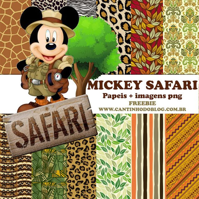 KIT SCRAPBOOK DIGITAL MICKEY SAFARI FREE - Cantinho do blog