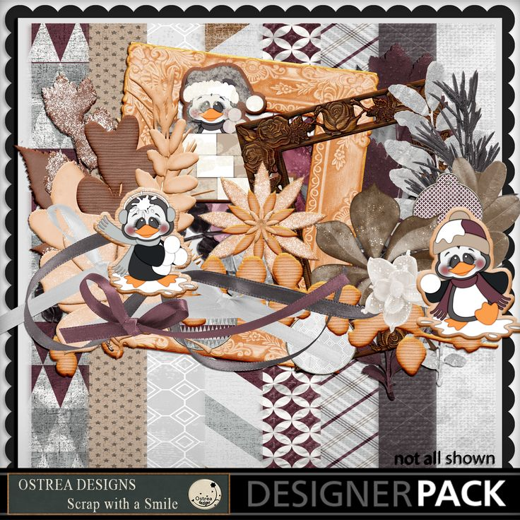 Kit Name - Artsy Cookie Time. Includes 3 cute penguin cookies, foliage cookies, cookie frames! https://www.mymemories.com/store/display_product_page?id=TFOS-CP-1701-118336&r=ostrea_designs