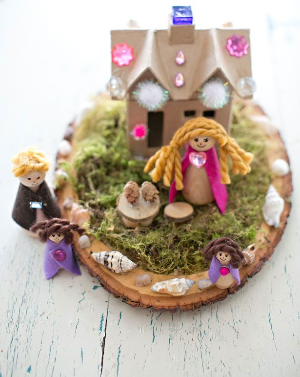 Make a Magical Fairy House (lots of ideas included on making simple furniture and peg doll fairies).
