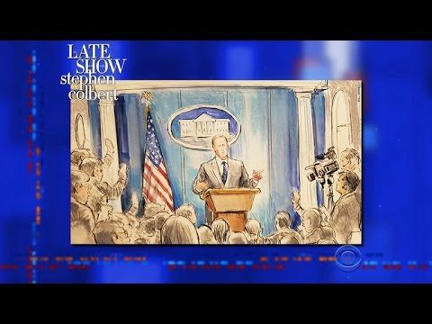Stephen Leaks Drawings Of Sean Spicer's No-Camera Press Briefing | When Sean Spicer banned cameras from White House Press Briefings, CNN sent a courtroom sketch artist. Turns out, Stephen has more depictions of the briefing from various artists.