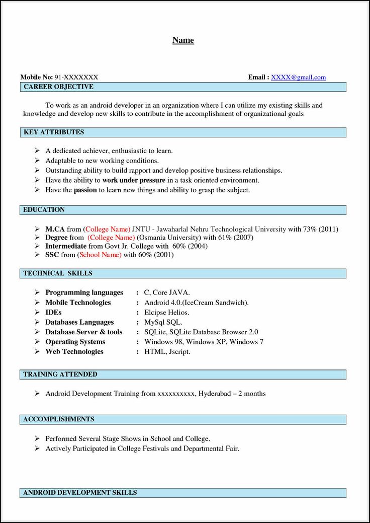 android developer resume 3 if you experience in