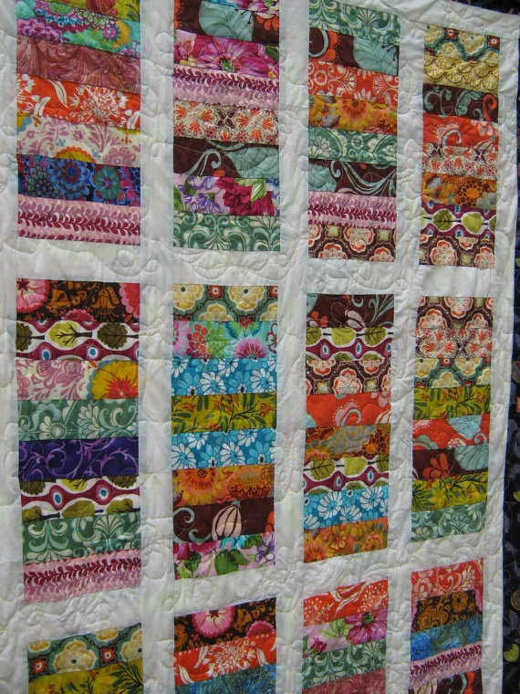 simple quilt in lovely fabrics