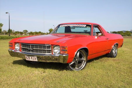 1971 CHEVROLET EL CAMINO  1971 EL CAMINO, Tangerine, left hand drive. 350 V8 T350 auto, excellent running order. New suspension, new drag link, tie rod ends, ball joints, etc. Full front & rear energy bush kit, new coils, new Konis front, Edelbrock manifold rocker covers & breathers. Engine has new cam, new Holley, roller rockers & electronic ignition, timing chain, train horns, billet steering wheel, 20 inch Foose rims. Qld registered & roadworthy.  $21500 ono