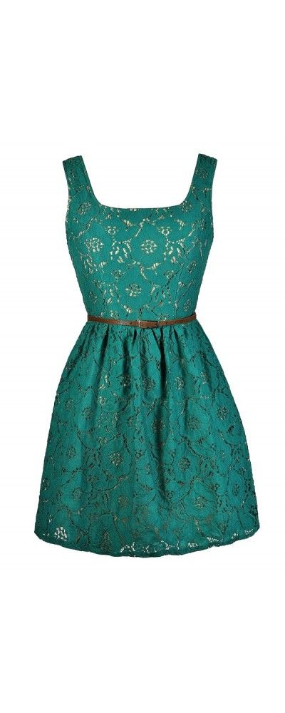 A Little Bit Country Jade Belted Lace Dress  www.lilyboutique.com