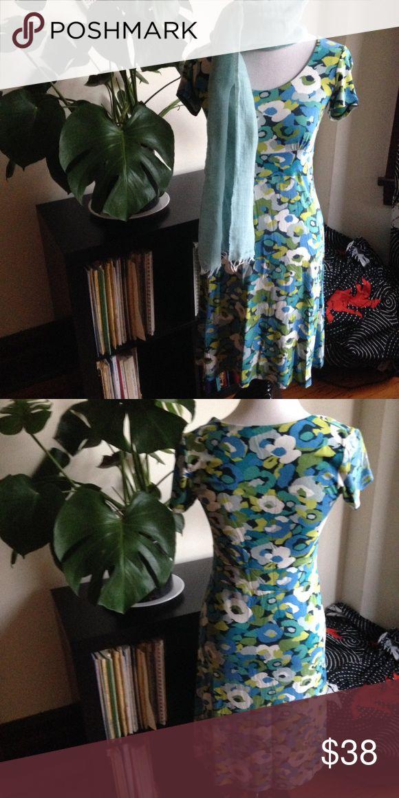 "BODEN Parisian spring dress Viscose/elastene. Turquoise, lime, sky, navy, moss. Impressionist print. Short sleeves. Bodice gather shaping. 2"" waist defining section. Slightly flared A line skirt. Boden Dresses"
