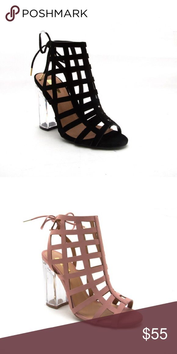 Ladies high top backless clear heels sandal. black Very stylish sandal for ladies, peep toe, backless, back lace, clear heels high top sandal. Heels around 3 inches, true to size. Black color( Mauve color is available in different listing). True to size. New in box. NO TRADES shoeroom21 boutique Shoes Heels