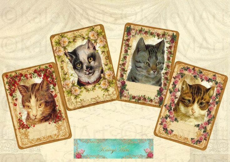 Cats...card, postkarten, instant download, scrapbook, vintage shabby chic, collage sheets, Geschenkanhänger  Decoupage Papier Bilder von KaleylArts auf Etsy