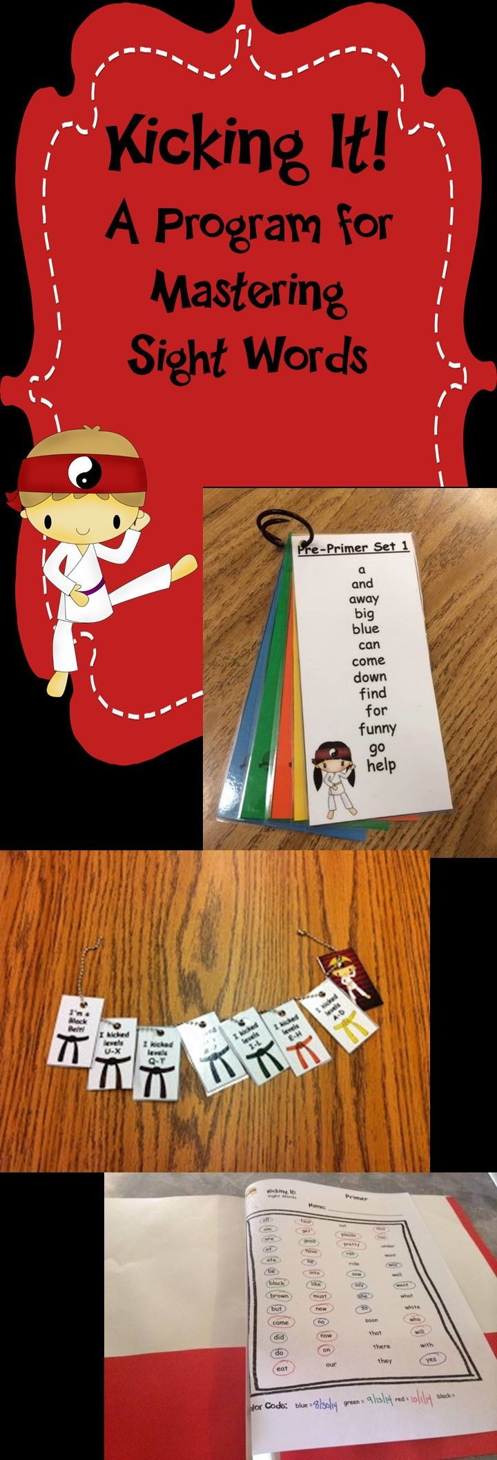 "Fun and motivating way to learn sight words! Students earn ""belts"" similar to karate as they master reading sight words."